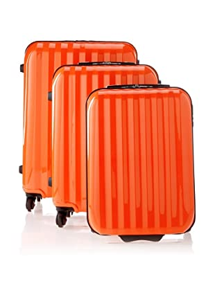David Jones Unisex 3 Piece Luggage Set (Orange)
