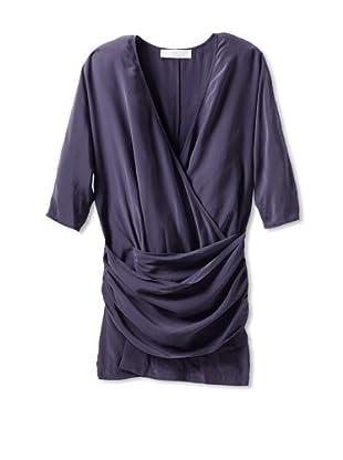 THAKOON ADDITION Women's Silk Short Wrap Dress (Charcoal)