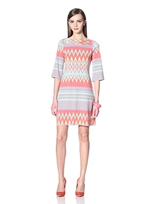Donna Morgan Women's Sheath with Banded Neck (Coral Multi)