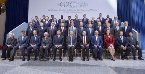 """Washington, D.C., April 15, 2016: G20 finance ministers and central bankers gave themselves a pat on the back, but also warned of """"downside risks and vulnerabilities"""" (source: dpa)"""