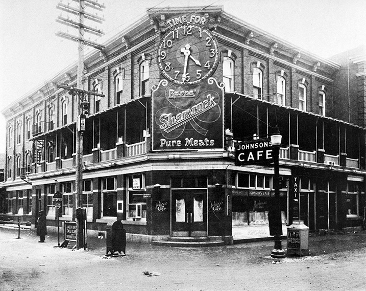 Johnson's Cafe Advertising visible outside the Hotel Selkirk, circa 1932. Image courtesy of the City of Edmonton Archives.