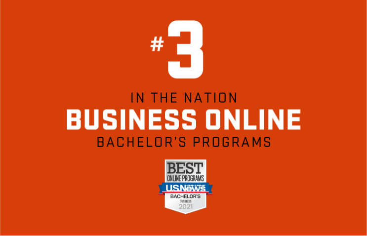 """A graphic that reads """"#3 in the nation business online bachelor's programs."""" Oregon State is ranked # 3 for best online business degrees."""