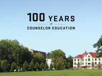 "A photo of the Oregon State University campus with a text overlay that reads ""100 years of counselor education."""