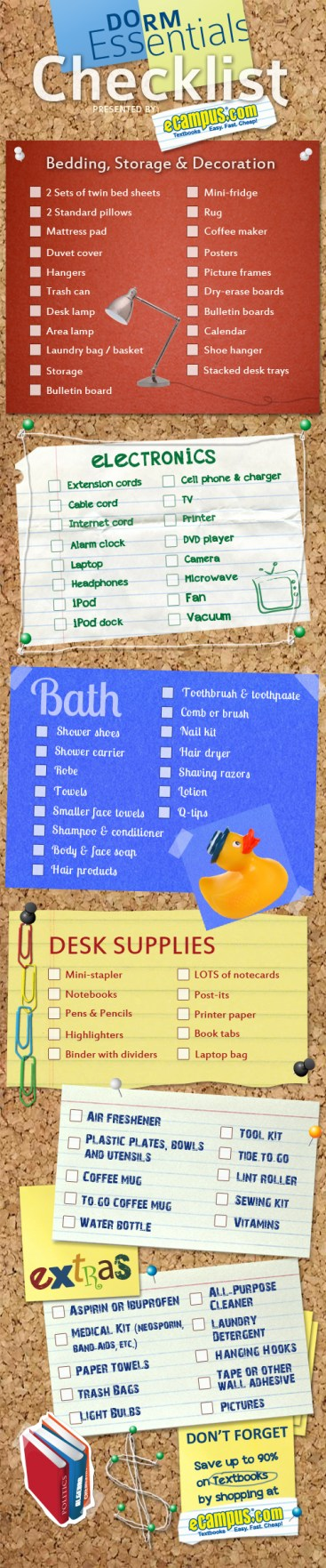 List Of Dorm Room Essentials Printable Checklist - Dorm room essentials