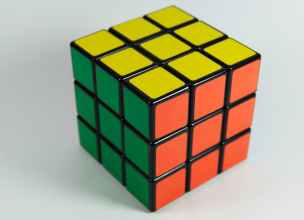A solved rubiks cube to showcase the logical and definitive side of the logic vs emotional issue.