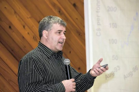 Ag analyst Mike Jubinville speaks to local producers about the future of the world grain markets in Veteran on Friday, January 11. Jubinville was invited to speak during Eagle Agro Services tenth anniversary celebration held at the Veteran Community Centre.