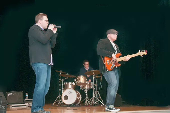 Vocalist Jesse Peters, drummer Thom Bennett and bassist Travis Switzer rock the house