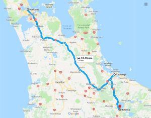 auckland to rotorua map