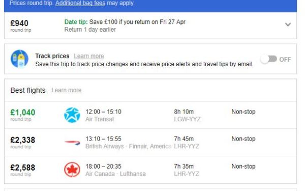 London to Toronto Price Comparison