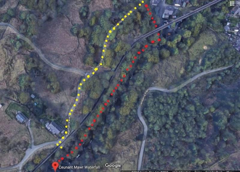 Ceunant Mawr Waterfall route