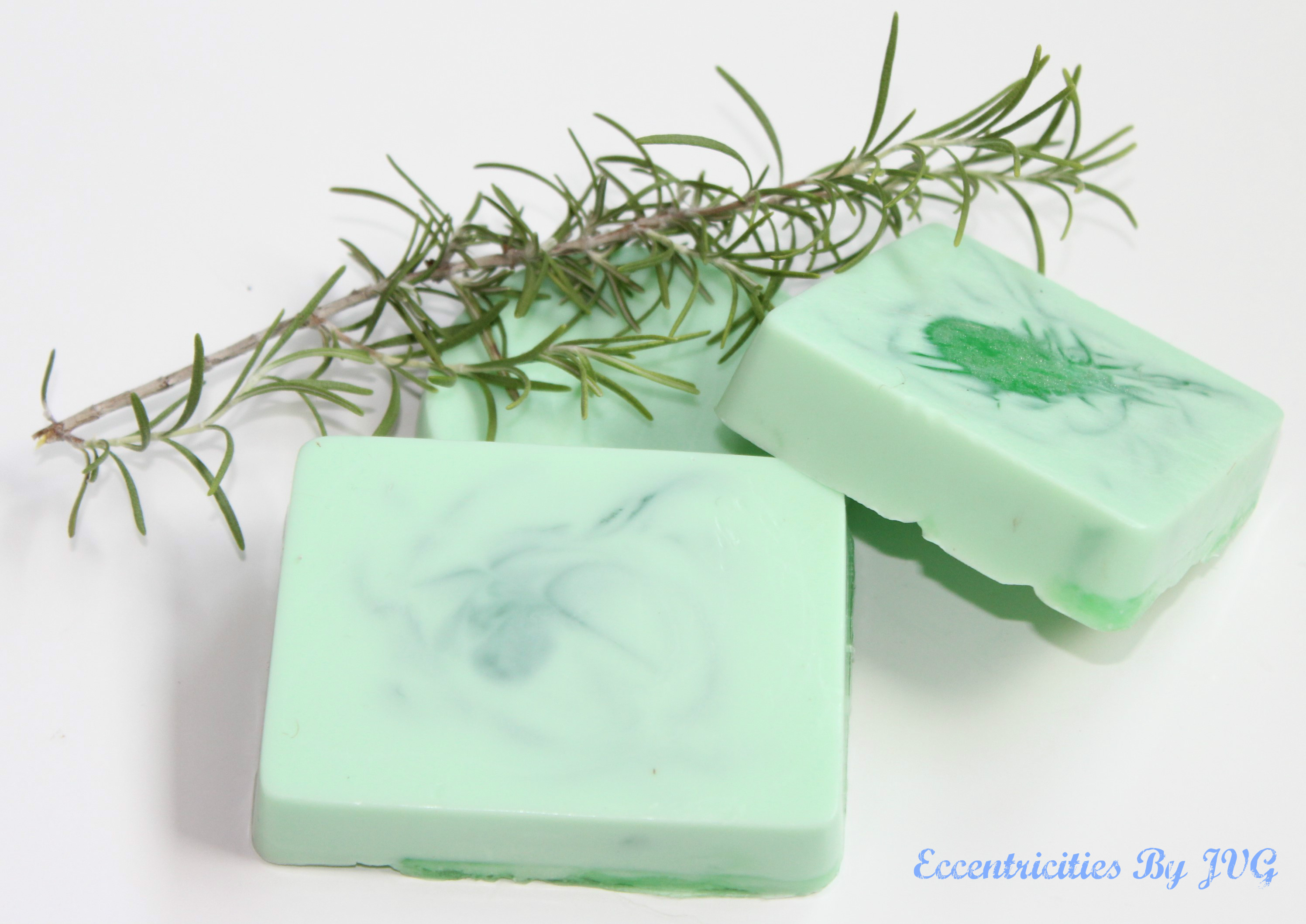 homemade soap making with fresh rosemary from the garden
