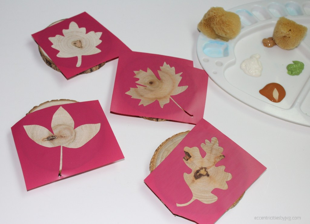 autumn leaves set up in silhouette for coasters stencils