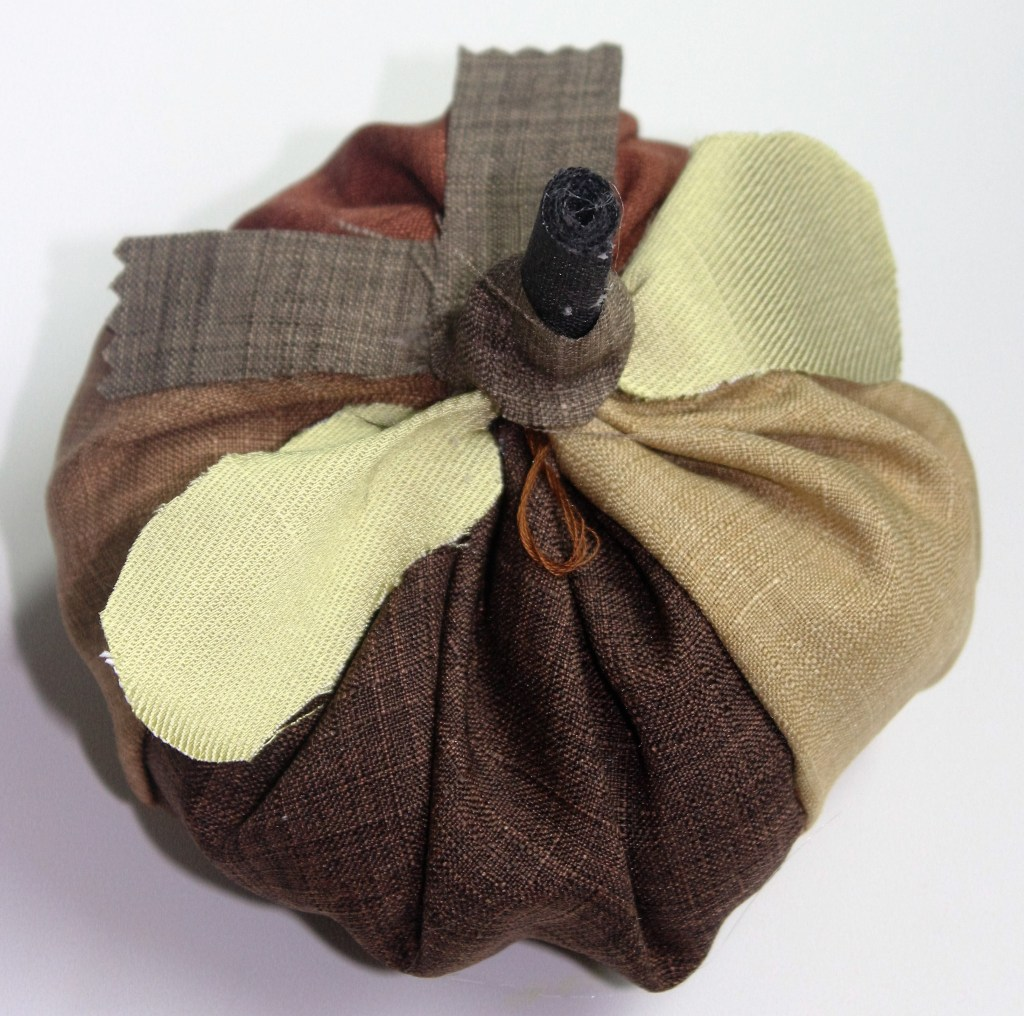 quilted fabric pumpkin in brown colors
