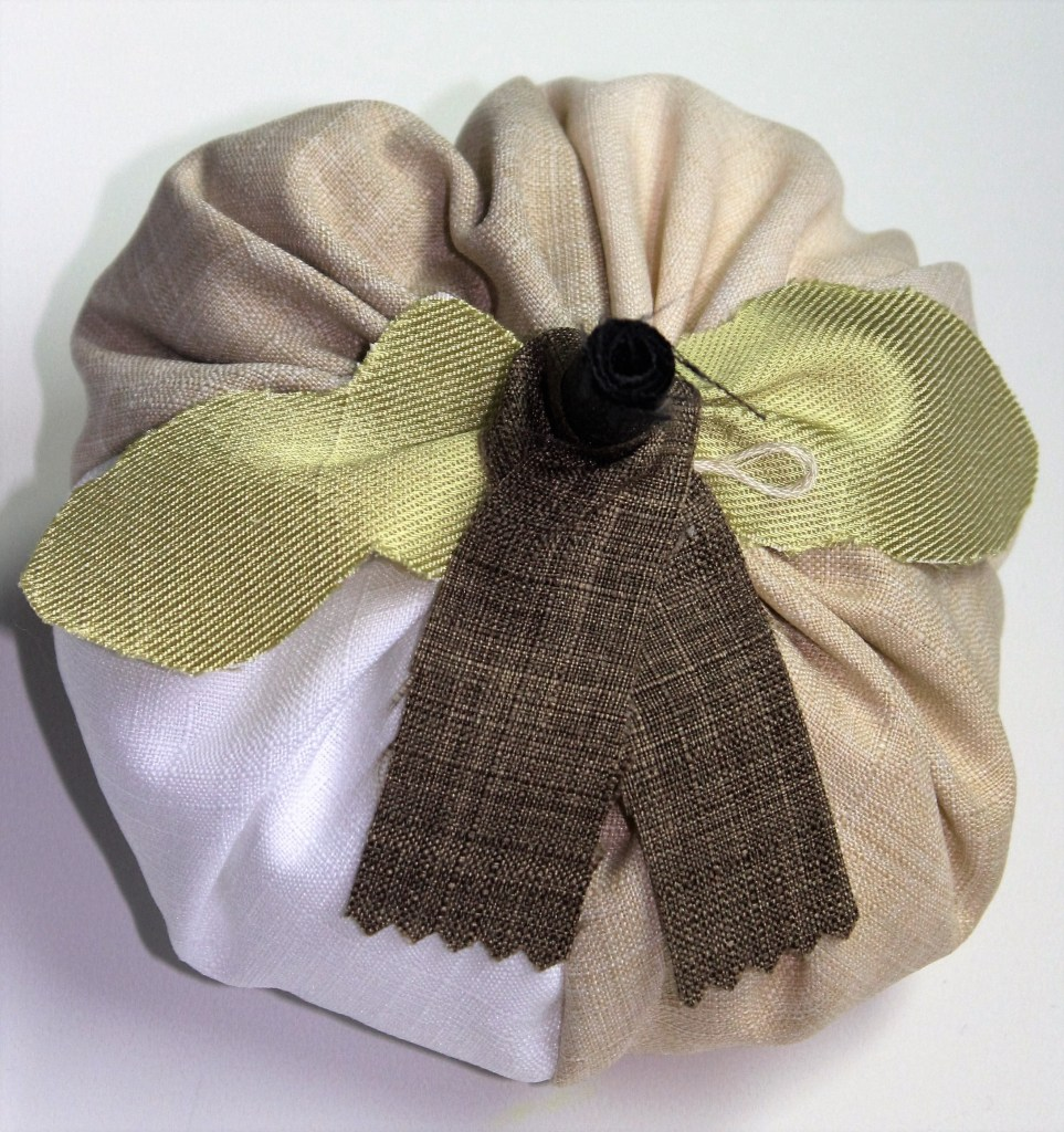 quilted fabric pumkin in cream colors