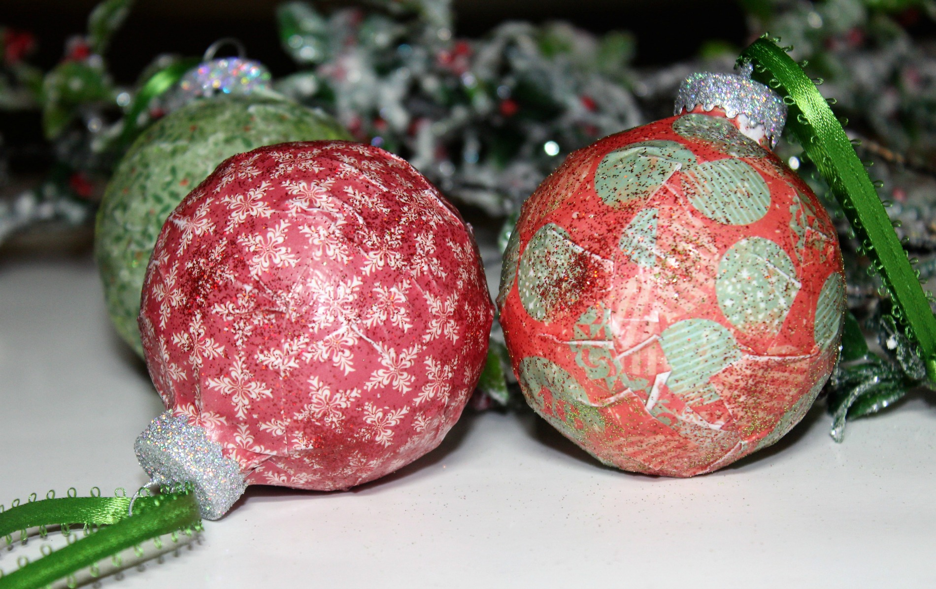 Decoupaged Christmas ornaments