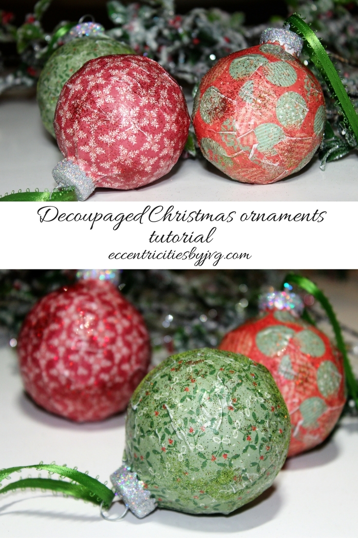 DIY decoupaged Christmas ornaments tutorial