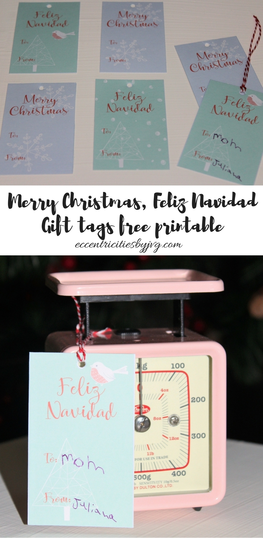 Merry Christmas, Feliz Navidad Gift Tags free printable