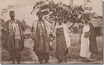 """A Yoruba bride and bridegroom""- vintage postcard circa 1910."