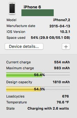 バッテリー交換前。充電回数676回、能力54.3%