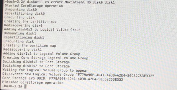 diskutil cs create Macintosh¥ HD disk0 disk1