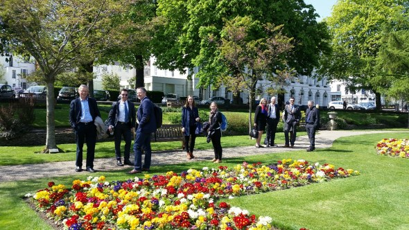 Some of the NOKUT fact-finding delegation from Norway in the floral gardens of Cheltenham