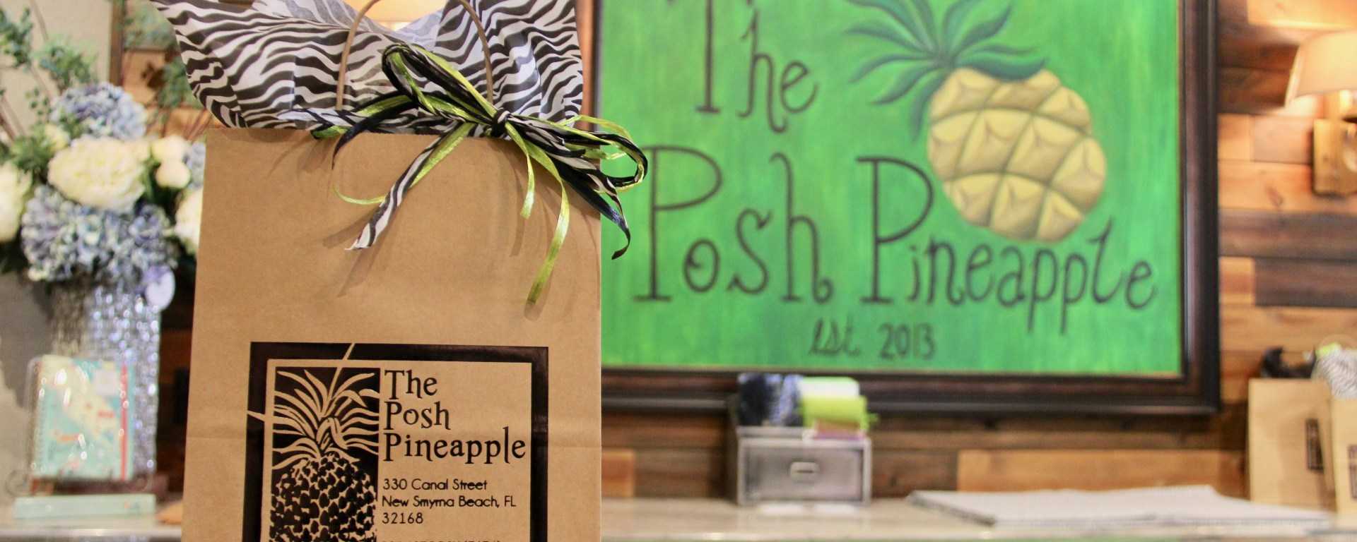 Posh Pineapple cash wrap counter and bag