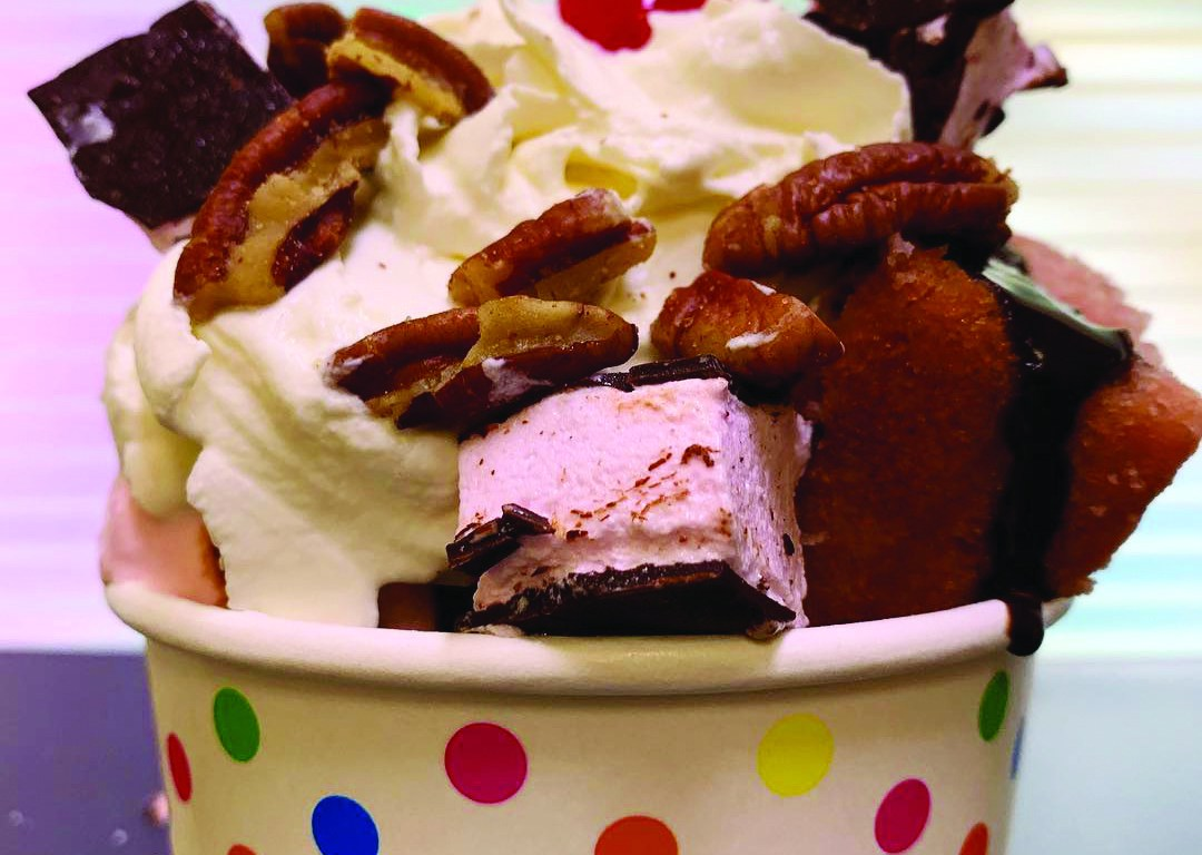 Neighbors Rose Sundae with chocolate sauce, marshmallows and whipped cream