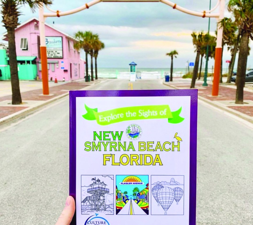 Culture to Color coloring book on Flagler Avenue in front of beach in new smyrna beach
