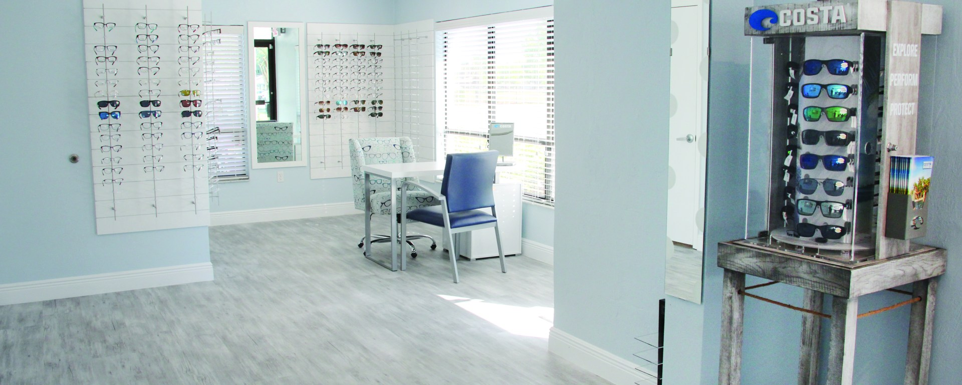 bright interior of eye doctor's office