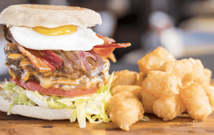 built custom burger breakfast burger with fried egg