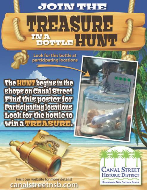 treasure in a bottle hunt event poster