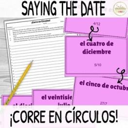 La Fecha Say the Date in Spanish ¡Corre en Círculos! Activity