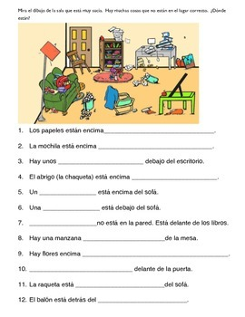 1 Page Worksheet Prepositions Spanish With Picture By Miss