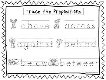 2 Trace The Prepositions Worksheets Preschool Kdg