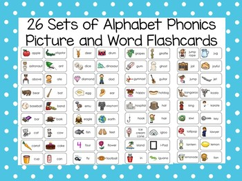 26 Printable Alphabet Phonics Picture Word Flashcard Sets ...