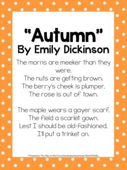2nd Grade Mini Unit Using CCSS Exemplar Text Autumn Poem