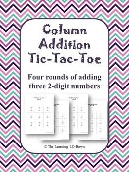 Column Addition Tic Tac Toe Game Adding Three 2 Digit