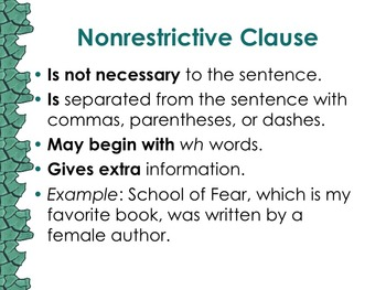 6 L 2 A Nonrestrictive Elements Or Clauses By Room 26