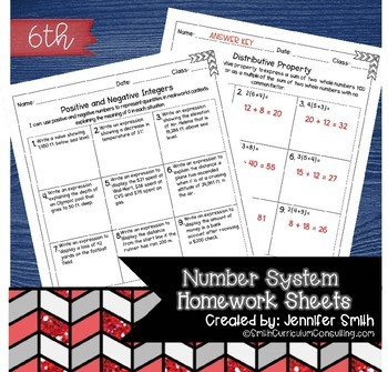 Sixth Grade Math Homework Sheets  The Number System   TpT Sixth Grade Math Homework Sheets  The Number System