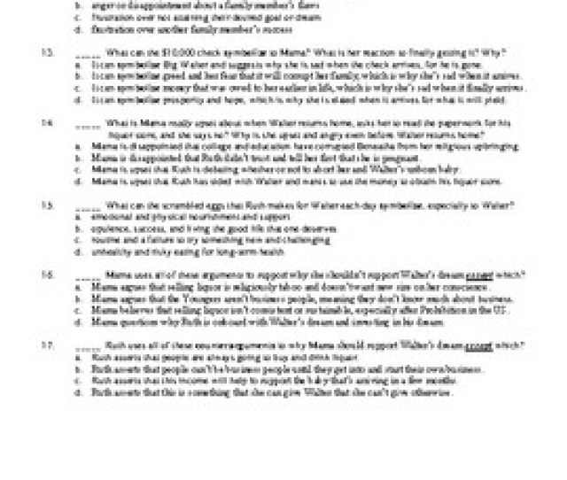 A Raisin In The Sun 50 Question Multiple Choice Quizzes Or Test