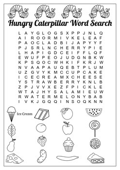 A Very Hungry Caterpillar Word Search By Fun In The Sun TpT