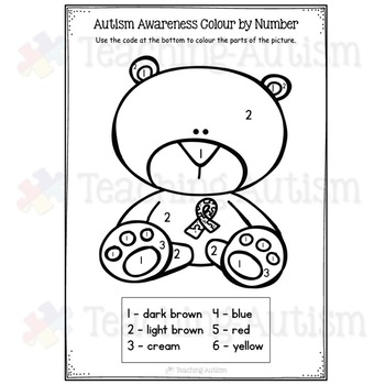 Autism Awareness Coloring Colouring By Teaching Autism TpT