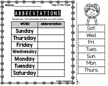 Abbreviations 2nd Grade By Teaching Second Grade
