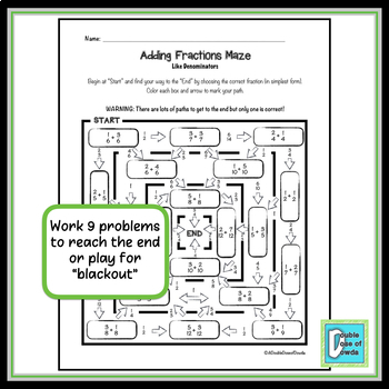 Adding Fractions With Like Denominators Worksheet By A