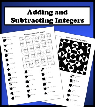 Adding And Subtracting Integers Color Worksheet By Aric
