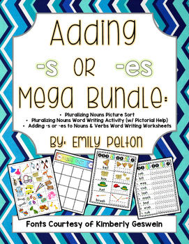 Adding S Or Es Mega Bundle Plural Nouns Present