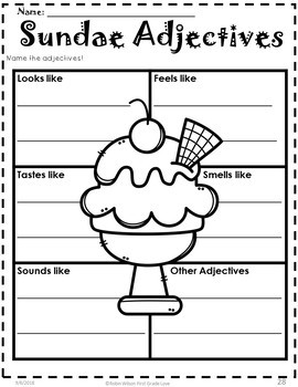 Adjectives Activities First Grade By Robin Wilson First
