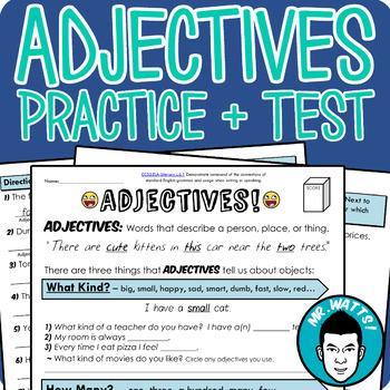 Adjectives Grammar Worksheet Packet Test By Mrwatts