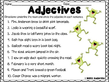 Adjectives Worksheet By Misty Anderson