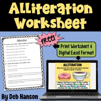Alliteration Worksheet Freebie By Deb Hanson